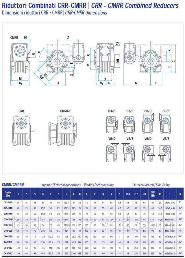 Червячный двухступенчатый редуктор ATWD 040/075